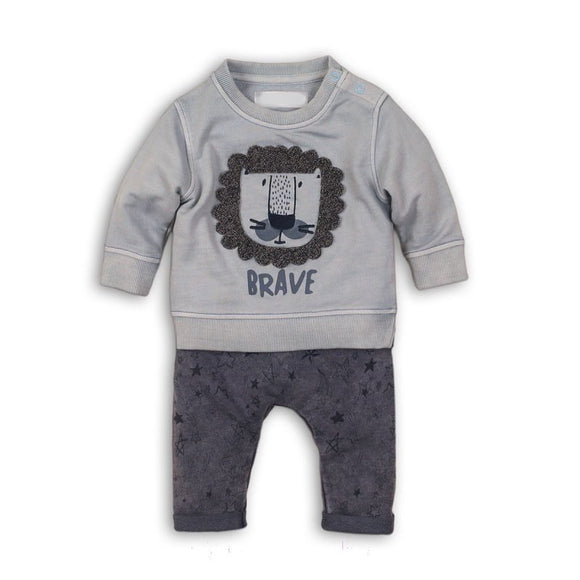 Appliqué lion dusky blue sweater and washed grey denim star jeggings (0-12 months). Limited edition.