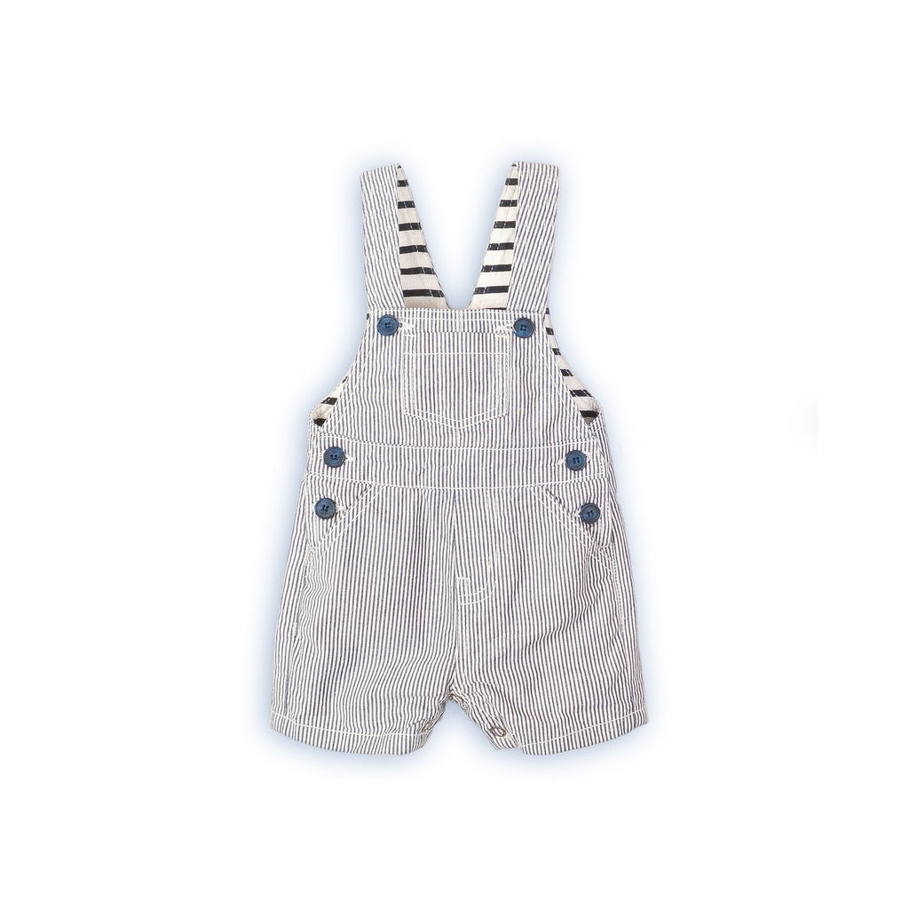 3-6 months - Seagull stripe bay dungarees