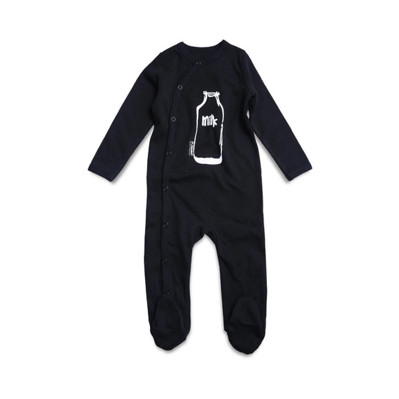 Black milk bottle print monochrome sleepsuit romper with poppers