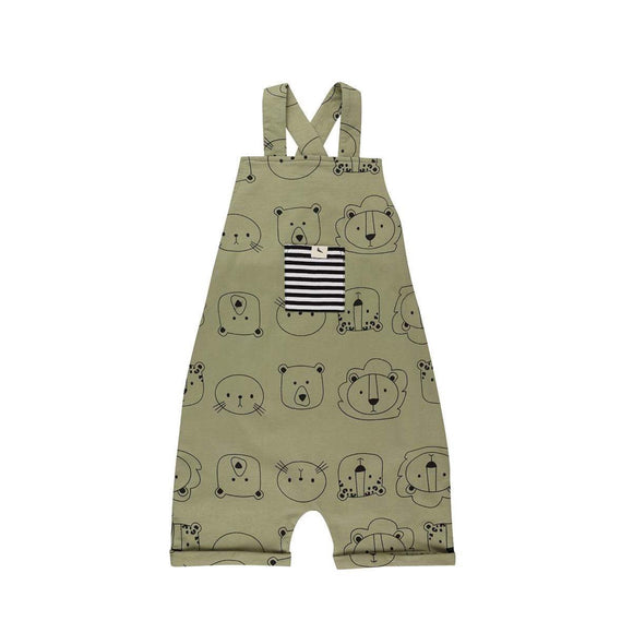 Khaki cub faces organic cotton dungaree shorties by Turtledove (0-3 years)