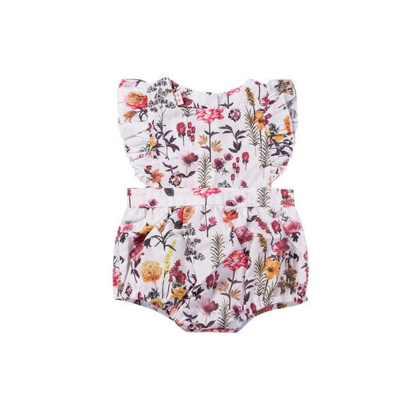 Wild wood floral all in one romper - 0-2 years