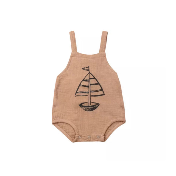 Muslin boat print tie back romper (up to 2 years)