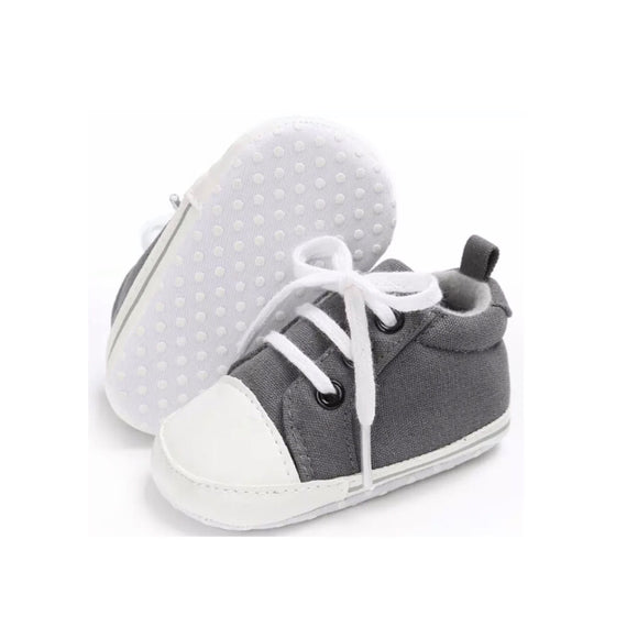 Clearance - 6-12 months - Grey baby canvas lace up trainers for pre walkers