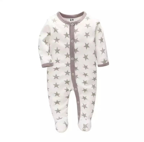 Grey star cotton babygrow sleepsuit romper (newborn to 6 months)