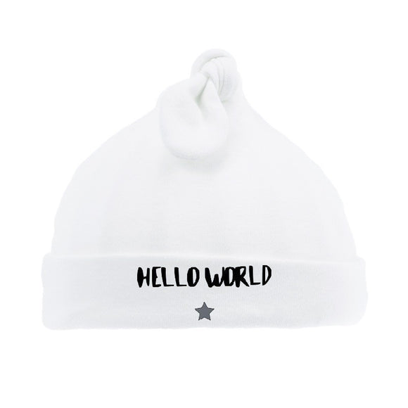 Hello world white top knotted hat (0-6 months)