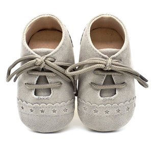 Grey Baby Suedette Brogue Shoes