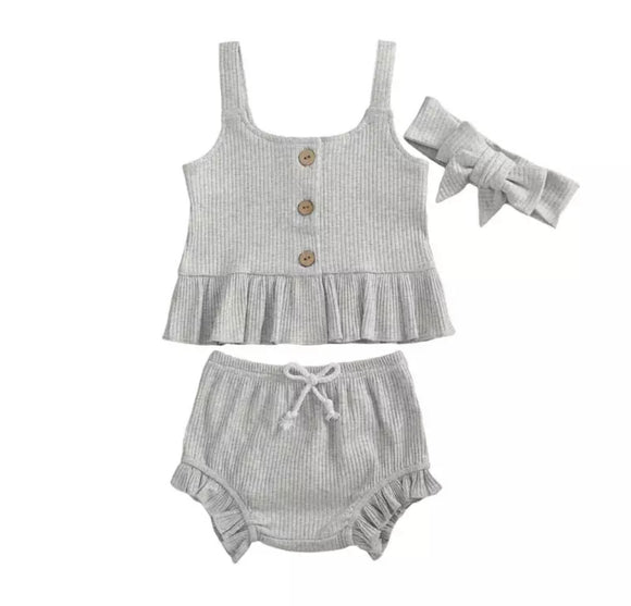 Clearance - 0-3 months - Grey ribbed top and ruffle bloomer set with headband