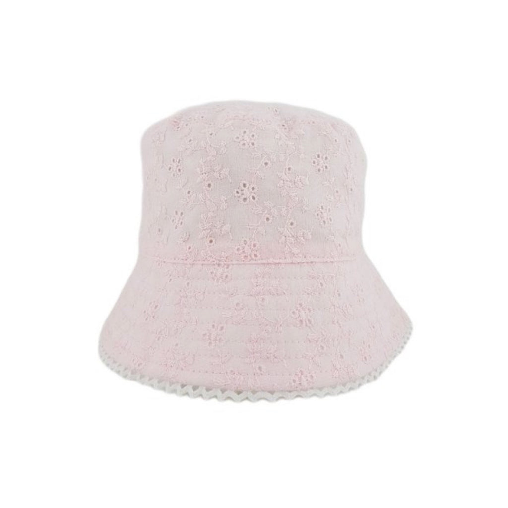Girls Broderie Anglasie hat - blush pink (sizes 6 to 18 months)