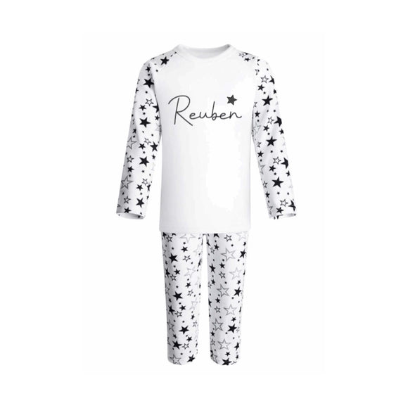 Premium monochrome star personalised pyjamas (0-6 years)