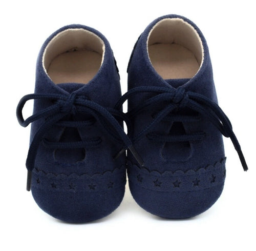 Navy Baby Suedette Brogue Shoes
