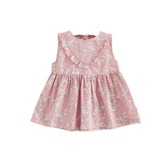 2-3 years - Dusky pink frill detail flower and fern cotton dress 005