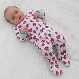 KITE GOTS certified organic cotton mint and pink ladybird zippy sleepsuit babygrow (up to 12 Months)