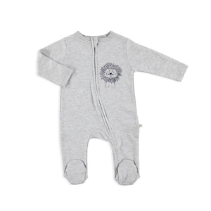Super luxe grey lion print zippy sleepsuit (up to 9 months)