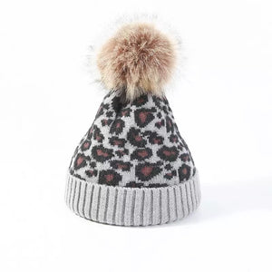 Fur Lined grey leopard knitted Pom Pom hat