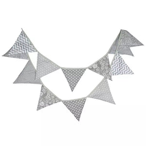 Fabric flag natural bunting - 12 flags 3.2m