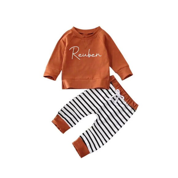 Gender neutral rust breton personalised set (0-2 years)