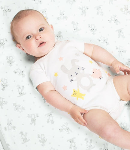 Organic cotton bunny and chick short sleeve bodysuit by KITE