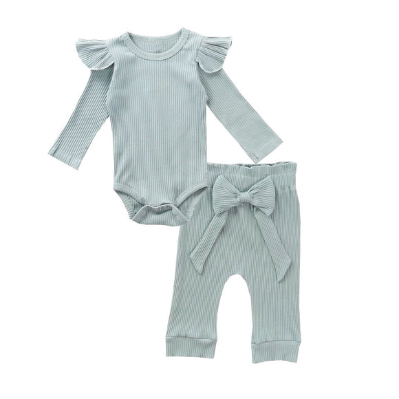 Dusky blue ribbed set with large bow (up to two years)