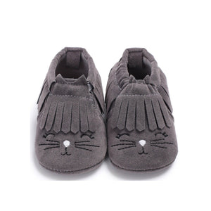 Charcoal animal moccasins soft pram shoes