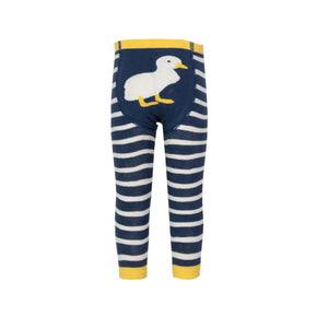 Organic cotton navy and mustard duck bum crawling pants (0-12 months)