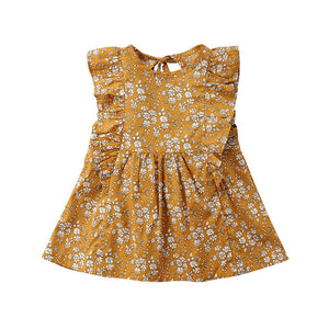 Mustard fern and flowers frill sleeve dress (0-2 years)