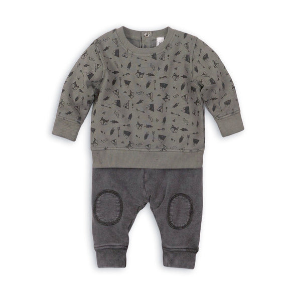 Camouflage tribal teepee arrow and fox print jersey set (sizes 0 to 12 months)
