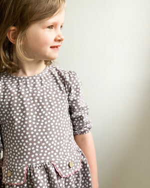KITE organic cotton taupe dotty dot spot dress