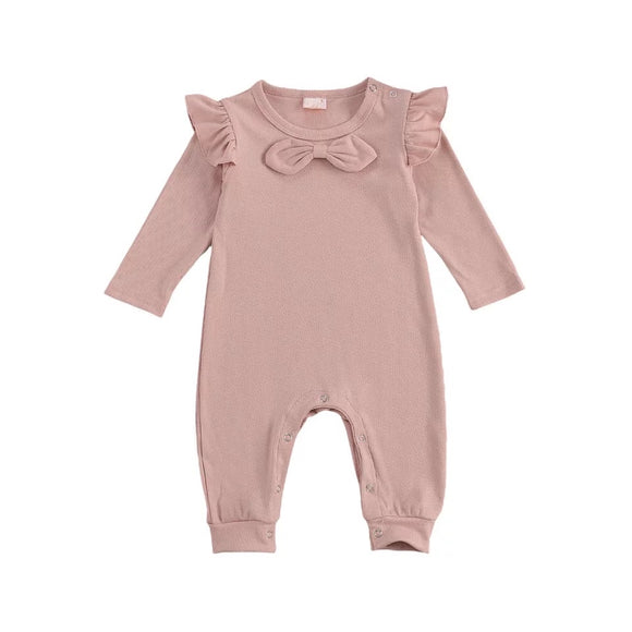 Dusty pink ribbed romper with bow - 0-12 months