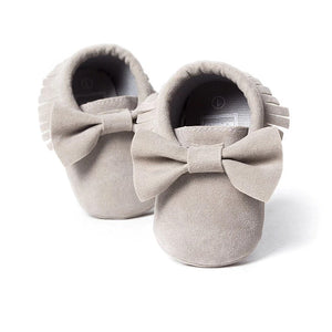 Grey tassel moccasins with bow