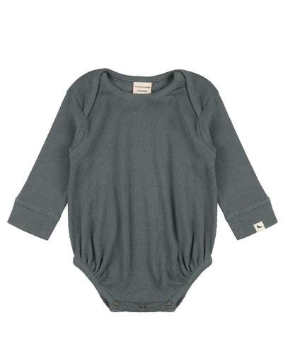 GOTS certified steel organic cotton ribbed bodysuit by Turtledove London (up to 12 months)
