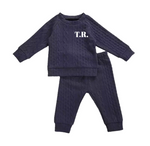 Navy print jersey personalised lounge suit - (up to 18 months)