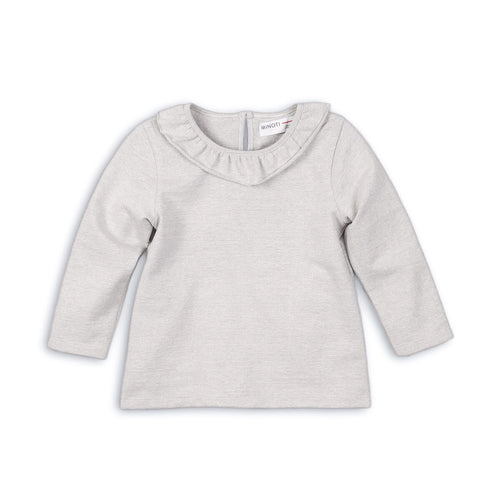 Silver luxe grey long sleeve top with ruffle collar (9months to 3years)
