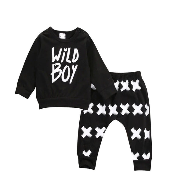 "Jersey cotton monochrome ""Wild Boy"" trouser and top set (3 months to 24 months)"