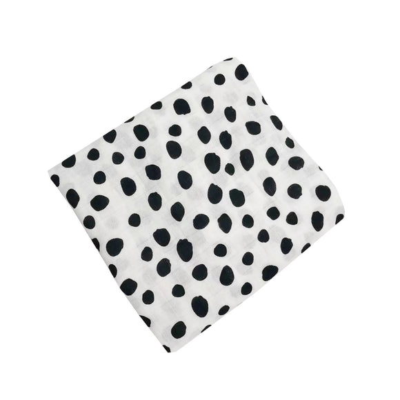 Giant bamboo cotton muslin Dalmatian dotty print swaddle blanket 120cm
