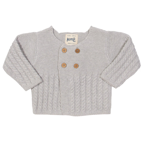 KITE Organic GOTS certified cotton twisted cable knitted grey cardigan