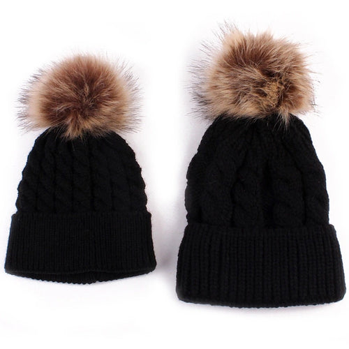 Mama and me black matching single Pom Pom cable knitted hats - Adult and Baby sizes available - sold separately