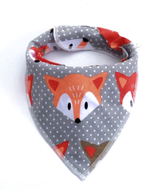 Fox and dots fleece lined dribble bib