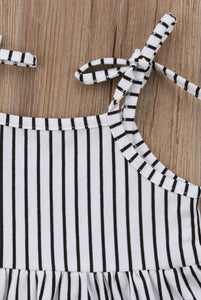 Vertical monochrome stripe jersey cotton sun romper