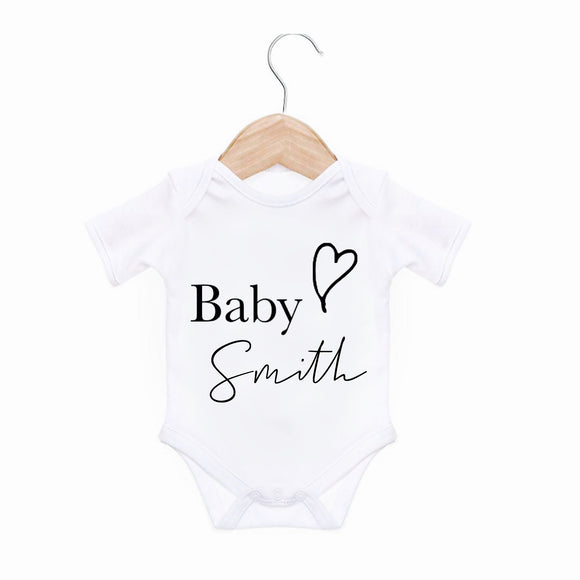 Personalised baby monochrome bodysuit - heart and script