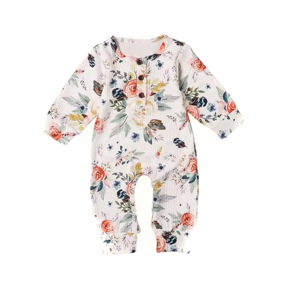 Vintage floral ribbed footless romper (0-2 years)