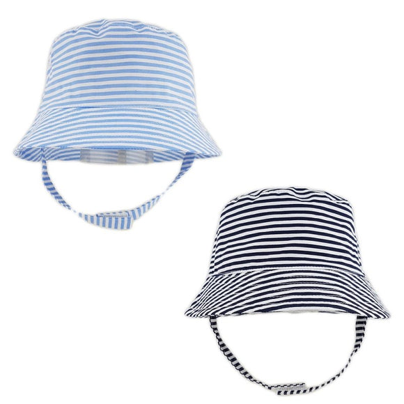 Blue stripe bucket hats - 2 piece set (0 to 18 months)