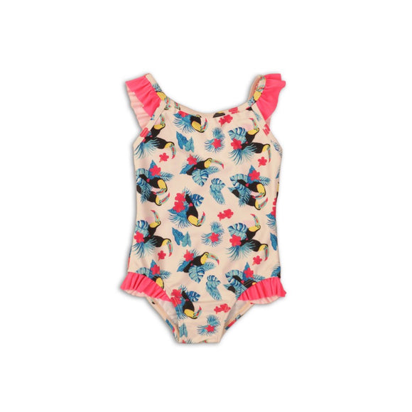 Girls toucan swimsuit with frill detail (9 months to 3 years)