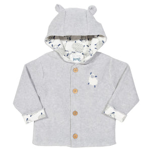 Sheepy certified organic cotton grey sheep print jacket by KITE (0-24 months)