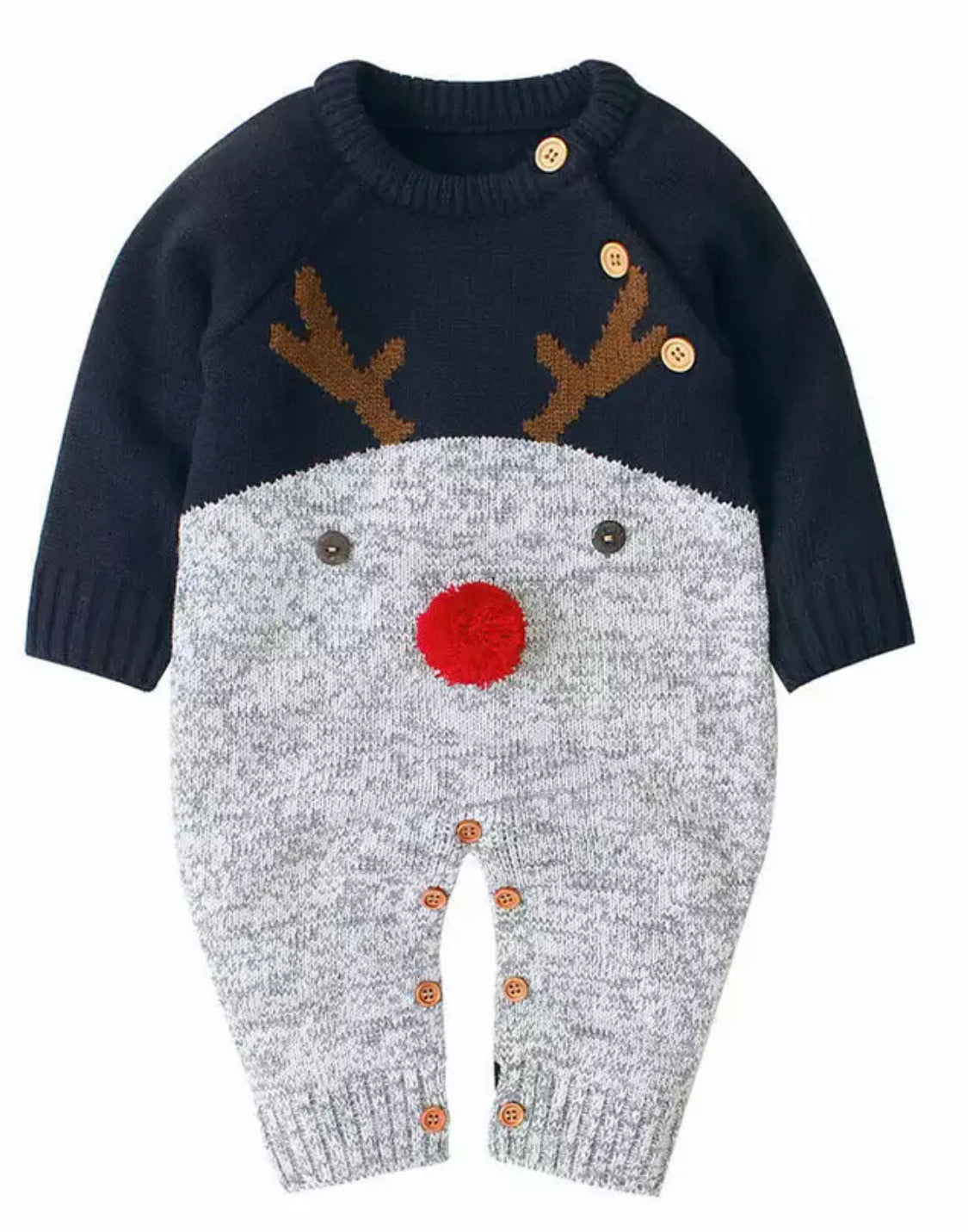 Navy reindeer knitted romper with pom pom nose (0-2 years)