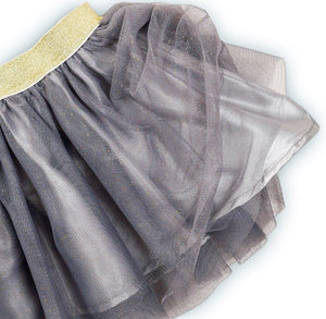 Two piece glitter stripe top and grey glittery tutu skirt set (up to 2 years)