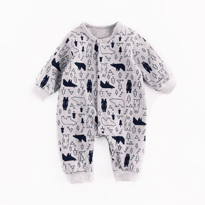When you go down to the woods - monochrome forest bear footless romper (up to 18 Months)