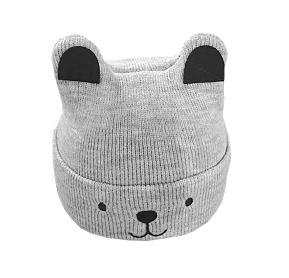 Grey woolly bear appliqué hat with ears 0-1 years