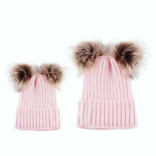 Mama and me - Pink Matching Double Pom Pom Knitted Hat - adult and baby sizes available - sold separately