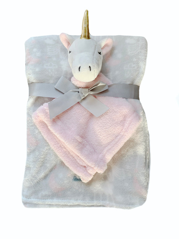 Plush fleece grey blanket with pink unicorn comforter - gift - toy