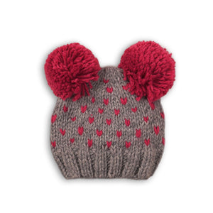 Raspberry and grey double Pom Pom knitted hat